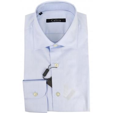 CASSERA Camicia Uomo Classica Celeste Tintaunita Twill Collo Francese 40 41 43 46