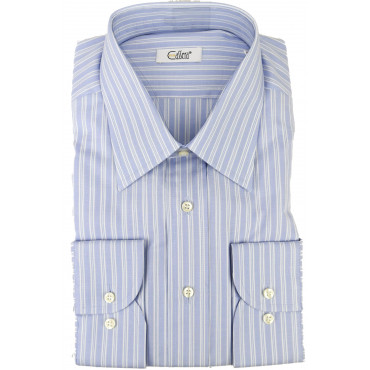 Camicia Uomo Righe Celeste Bianco Oxford Collo Italia - Cassera