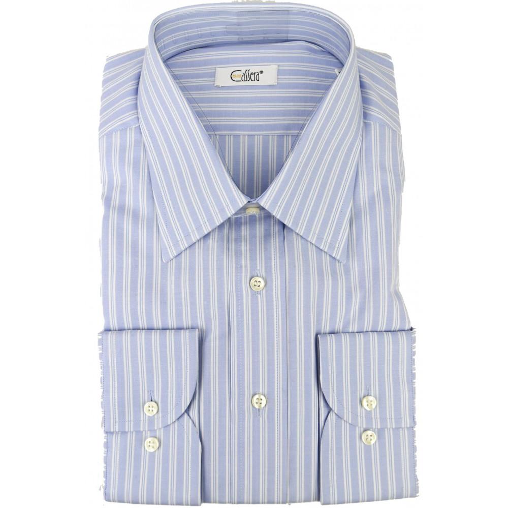 CASSERA Camicia Uomo Righe Celeste Azzurro Collo Italia