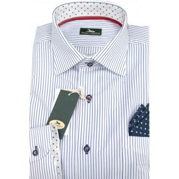 Camicia Uomo  41-16 collo Francese Righe Azzurro su Bianco con Pochette e colletto Pois - Philo Vance