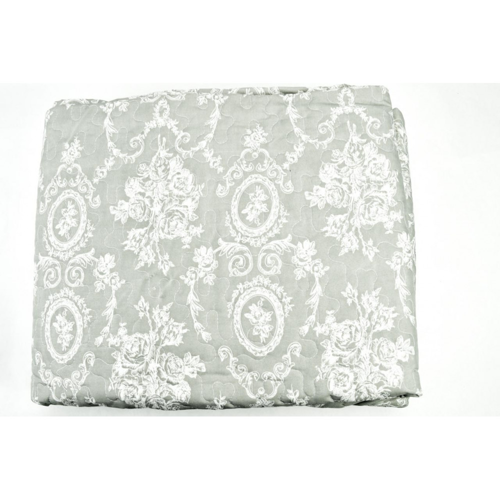 Couette couvre-lit Matelassé-Double-Gris modèles Blanc 260x260 - Boutis rembourrage pour améliorer l'Été