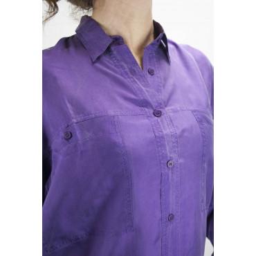 Camicia Pura Seta Stonewash Rosa Tintaunita - S M L - Manica Lunga