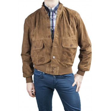 Jacket Bomber Brown Suede Suede Jacket - 48 50 52 54 56 58 60