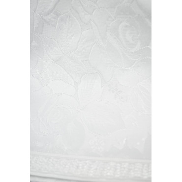 Copriletto Piazza e Mezza Bianco Misto Seta Rose 220x280