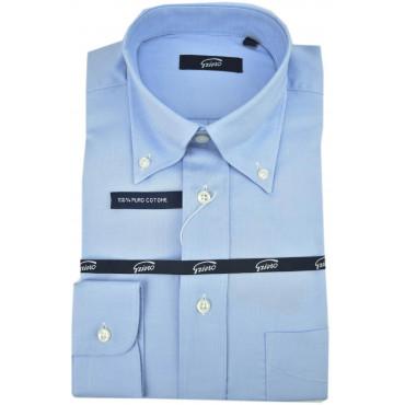 Camicia Uomo Classica Oxford Celeste Collo Italia