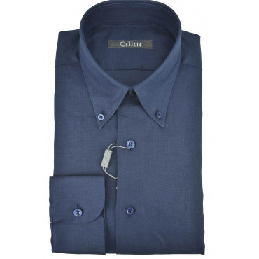 Camicia Uomo Puro Lino Blu Scuro collo Button Down