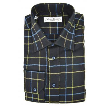 Camicia Uomo Francese Blu Quadretti Giallo Turchese