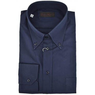 Camicia Sartoriale Uomo Popeline Blu Scuro Button Down