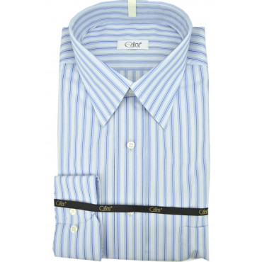 Man Shirt Lines Heavenly Blue Neck Italy