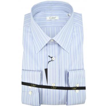 Camicia Uomo Celeste Righe Azzurro Collo Italia