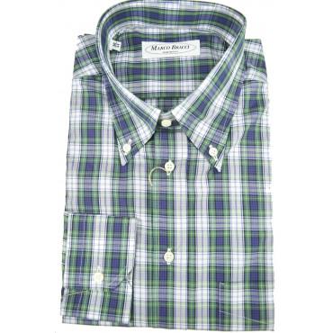 Camicia Sartoriale Uomo Scozzese Blu Verde Button Down