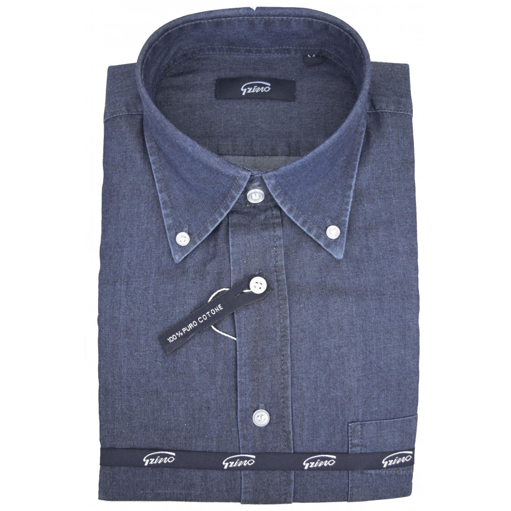 Camicia Uomo Indigo Blue Jeans Stonewash Collo Button Down