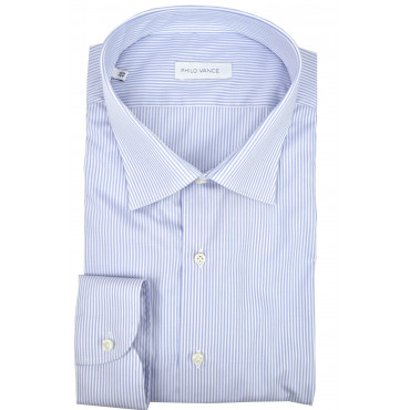 Man shirt Heavenly stripes white Classic collar - Philo Vance - Gaeta