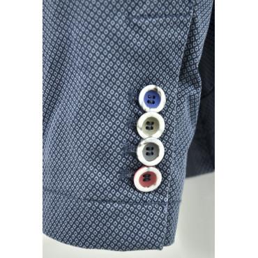 Giacca Uomo Casual Destrutturata Piccola Fantasia Geometrica Cotone 2 Bottoni