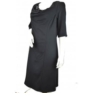 Dress Woman Dress Black 48 3/4 sleeve wide neckline polka dot Black