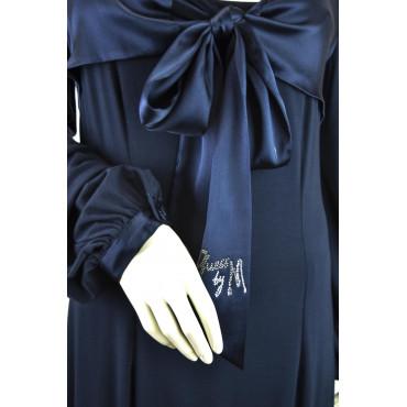 Abito Donna Tubino Nero 48 manica 3/4 ampia scollatura Pois Nero