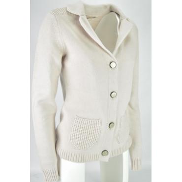 Mesh Damen Jacke Strickjacke Geknöpft, weiß, blass rosa