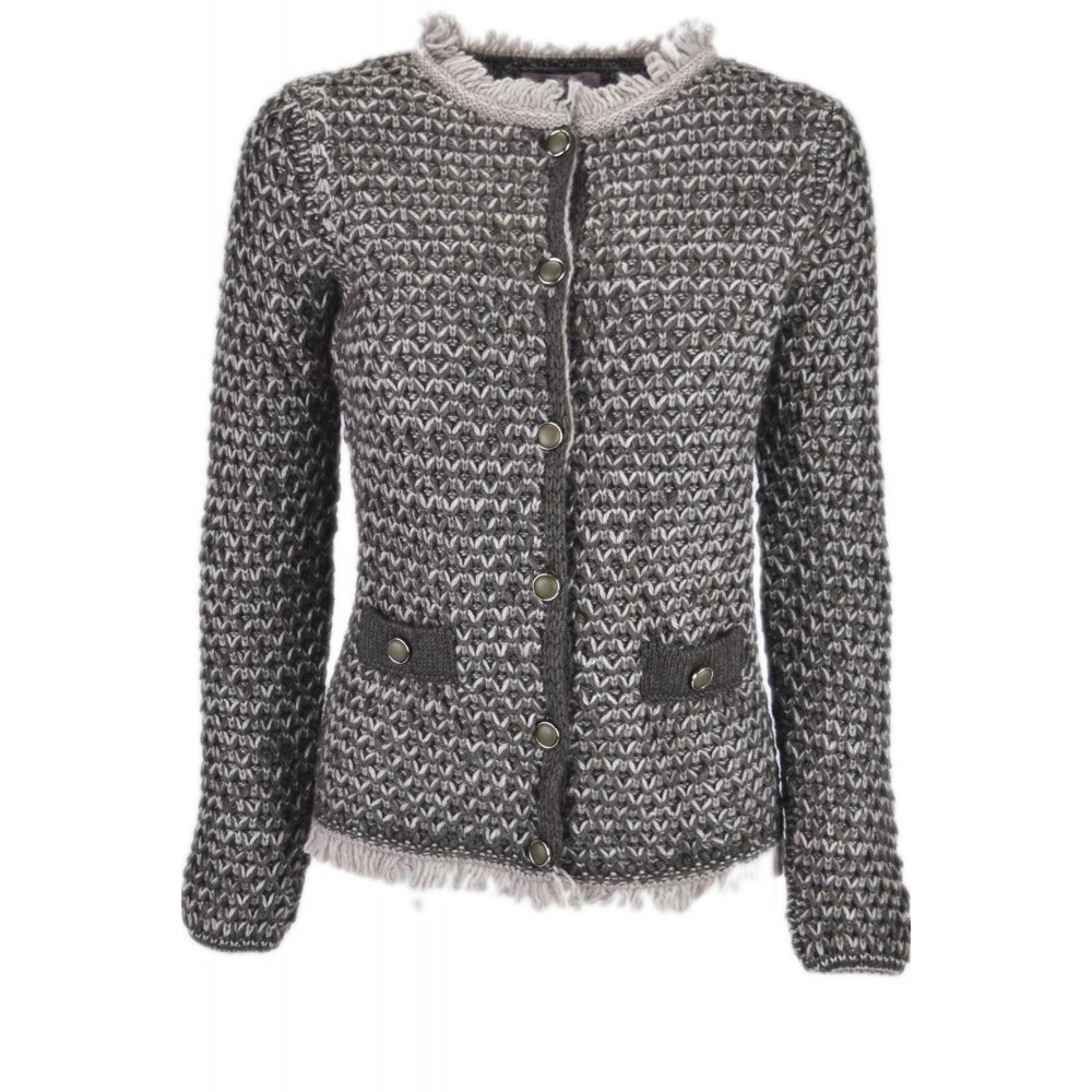 Giacca Cardigan Girocollo Donna modello Chanel Taglia M Colore Marrone 3c431372579