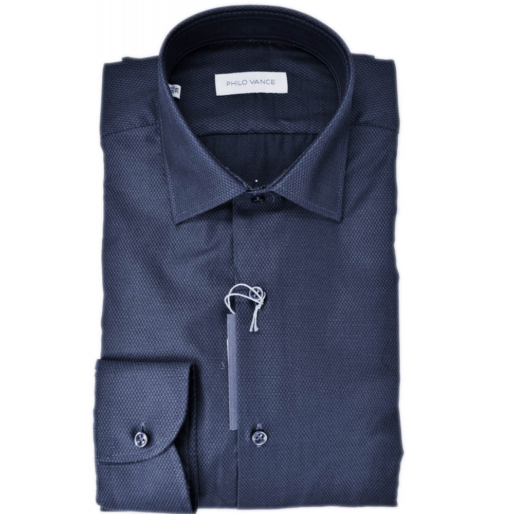 Camicia Uomo Blu Scuro Armaturato senza Taschino - Philo Vance - Bagnolo