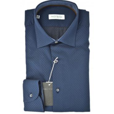 Camicia Uomo Blu Scuro Pois Beige senza Taschino - Philo Vance - Teulada