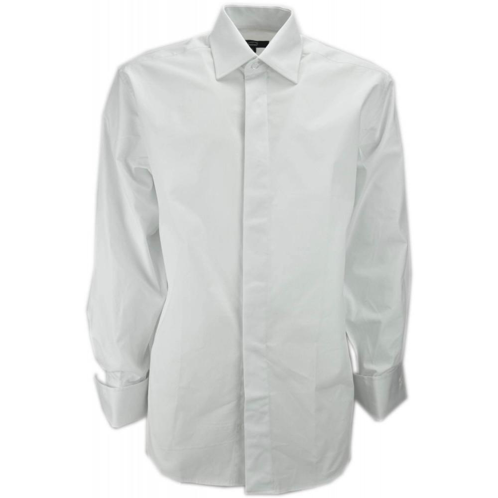 Camicia Uomo Elegante Cerimonia Collo Italia Polsino Gemelli Bianca Cotone Popeline - Lawrence Abbigliamento Uomo