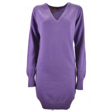 Robe Femme Violet Tricot Col V En Pur Cachemire