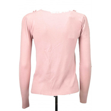 Cardigan Rouches Donna Slim Rosa 42/44 M Mix Cachemire -  Pullover Cachemire