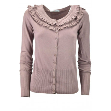Cardigan Rouches Donna Slim Rosa Mix Cachemire