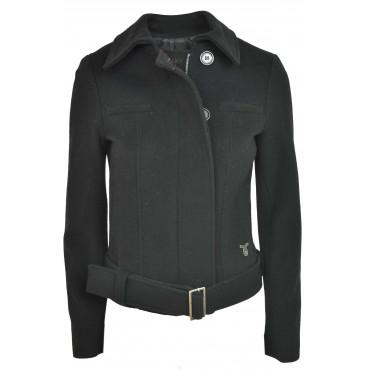 Calvin Klein Giacca Corta Donna 40 XS Nero Panno Misto Cachemire con Cintura