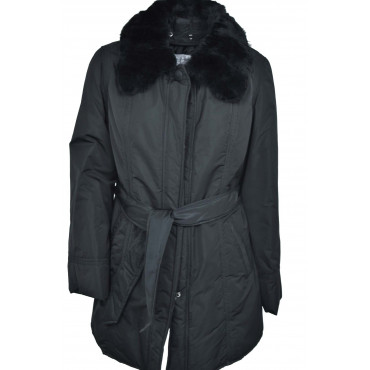 Jacket Padded Long Women's 44 M, Black Fur Neck Rabbit Fur