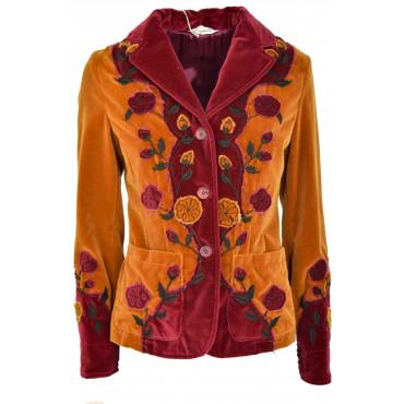 Giacca Donna Blazer con Fiori Capalbio - Arancio e Bordeaux Velluto Cotone - Casual Country Chic