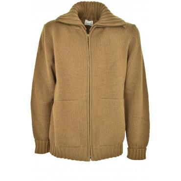 Maglia Uomo Cardigan Zip Giacca Collo Alto colore Beige Cammello - 100% Pura Lana