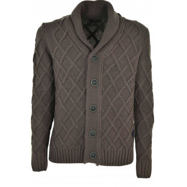 Pull Cardigan Homme Brun De Traitement De Diamants