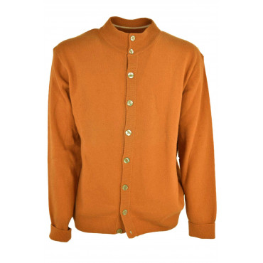 Cardigan Homme Orange 52 XL Bomber Boutons Homme PuraLana Geelong