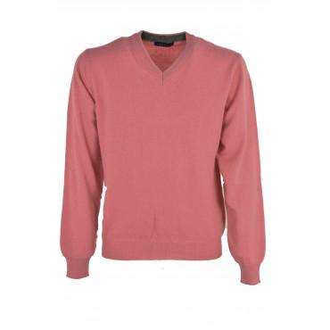 Pullover ScolloV Uomo Rosa - Misto Cachemire 2Fili