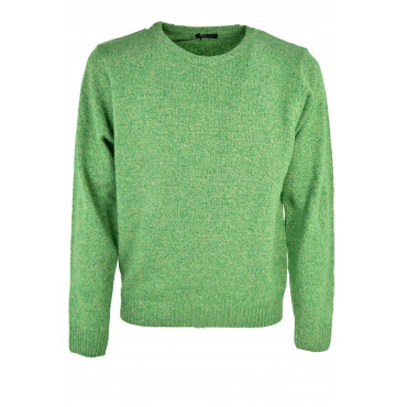 Pull Crew Neck Homme Chiné Vert Laine Cashmer