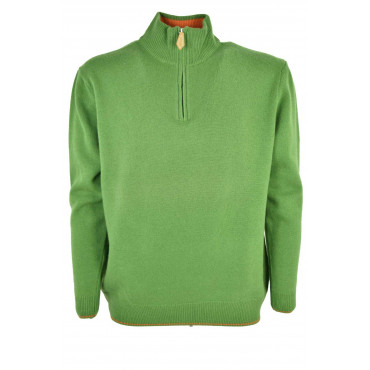 Maglione Uomo Lupetto mezza Zip Verde Acceso - Cachemire