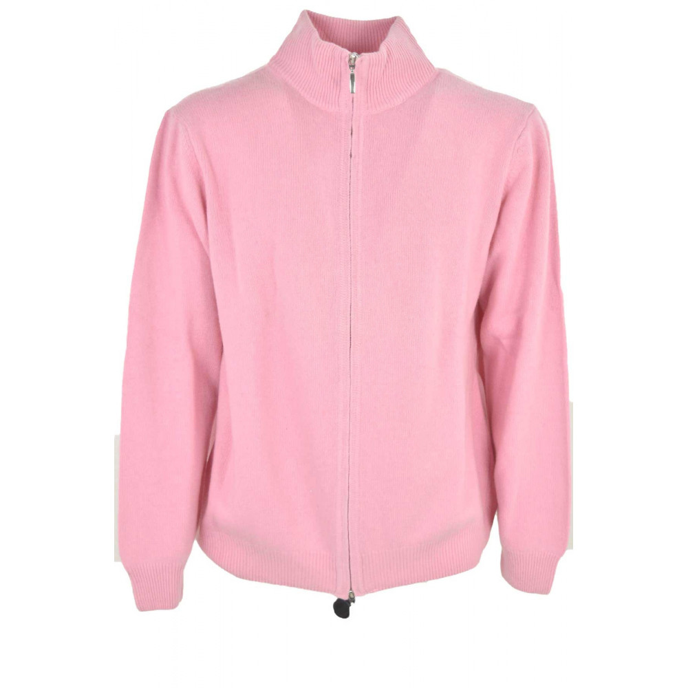 Sweater Man Bomber Zip Candy Pink 100 Pure Cashmere