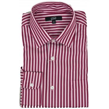 Camicia Uomo Righe Larghe Rosso Bianco Collo Francese