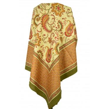 Copritutto Telo Arredo Copridivano Copriletto Indiano Stampa Manuale - Matrimoniale e Singolo verde arancio