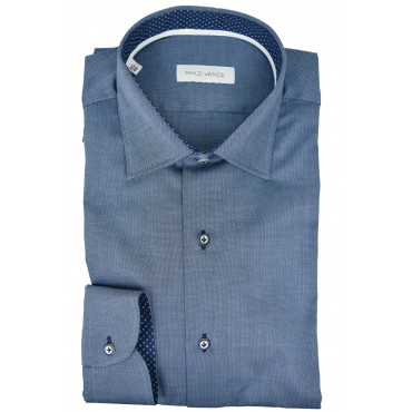 Elegant Shirt Men Medium Blue with stylish Details - Philo Vance - Diamond