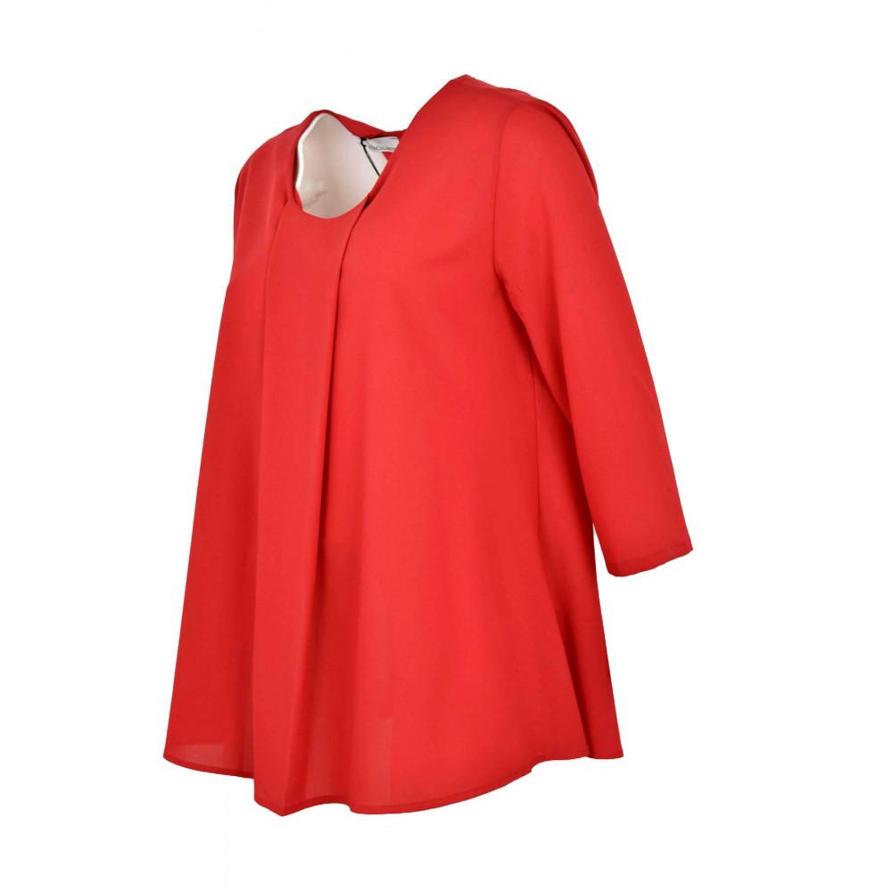 Ampia Blusa Donna Rossa in Crepe - Elegante