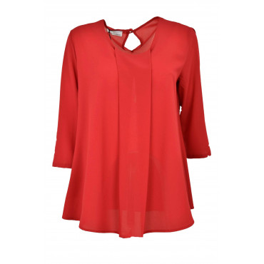Wide Blouse Women's Red Crepe - Elegant
