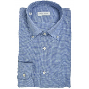 Man shirt Linen blend Blue...