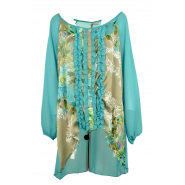 Wide Blouse Women's Aquamarine Floral - Plus Size