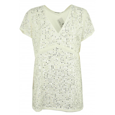 Blouse Women's Ivory Sequin...