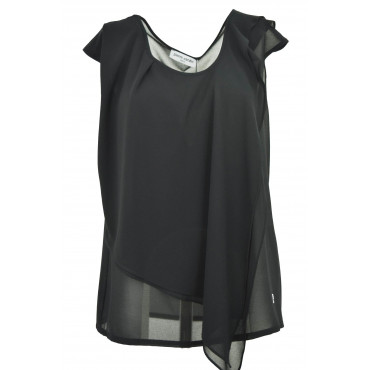 Blouse Woman Black Chiffon...