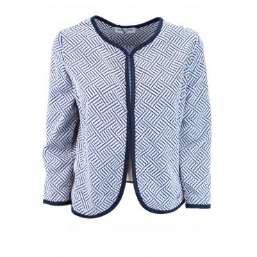 Giacca Corta Chanel Donna 46 L Optical Bianca e Blu - Pierre Cardin