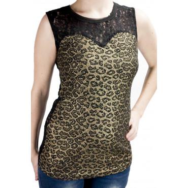 Canotta Donna Leopard Oro...