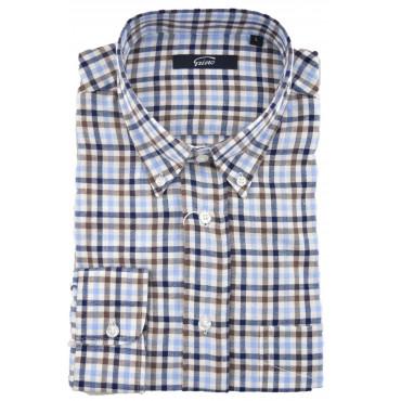 Camicia Uomo Classica Button Down Flanella Leggera Quadri Blu Marrone Celeste su Bianco  - Grino